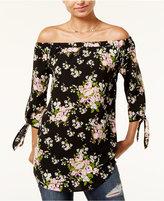 Miss Chievous Juniors' Floral-Print Off-The-Shoulder Top