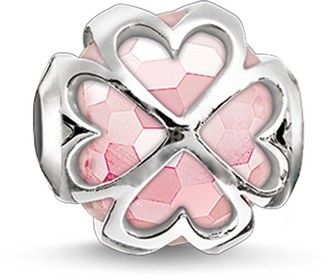 Thomas Sabo Women-Bead Cloverleaf Karma Beads 925 Sterling Silver rose quartz faceted pink K0170-034-9