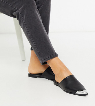 Co Wren Wide Fit western flat mules in black with toe cap