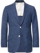 Richard James Storm-Blue Seishin Slim-Fit Slub Wool And Linen-Blend Suit Jacket