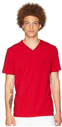 Nautica Slim Fit V-Neck T-Shirt (Grey Heather) Men's Clothing
