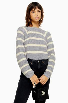 Topshop Womens Knitted Stripe Super Crop Jumper - Grey