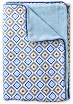 Caden Lane Ikat Diamond Blue Piped Blanket