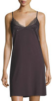 Hanro Greta Lace-Trimmed Chemise, Brown
