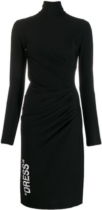 Off-White Ruched Long-Sleeve Midi Dress
