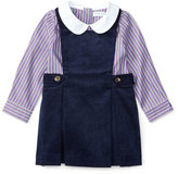 Ralph Lauren Corduroy Jumper w/ Striped Blouse, Navy, Size 9-24 Months