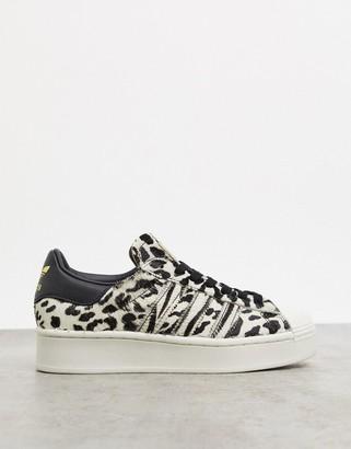 adidas Superstar Bold platform trainers in leopard print