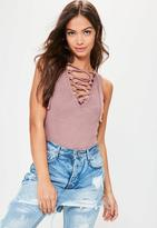 Missguided Pink Washed Ribbed Lace Up Bodysuit, Purple