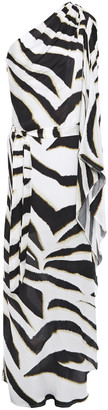 Melissa Odabash Lauren One-shoulder Draped Zebra-print Voile Maxi Dress