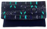 Blue Cotton Clutch Handbag with Hand Woven Geometry, 'Starry Magic'