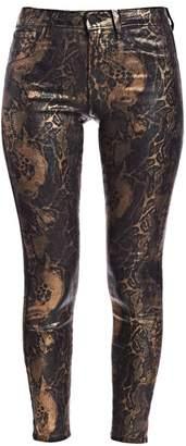 L'Agence Margot High-Rise Foil Python-Print Skinny Jeans