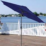 Asstd National Brand 9' Outdoor Patio Market Umbrella with Hand Crank and Tilt - Navy Blue