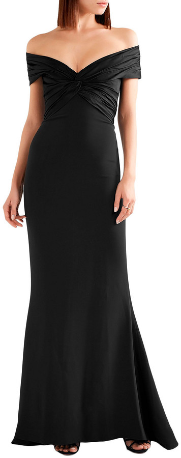 Thumbnail for your product : Reem Acra Off-the-shoulder Knotted Silk-crepe And Satin Gown