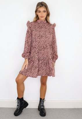 Missguided Petite Pink Leopard Print Frill Shoulder Tiered Smock Dress