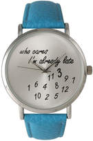 OLIVIA PRATT Olivia Pratt Womens Silver-Tone Turquoise Leather Strap Watch 13569