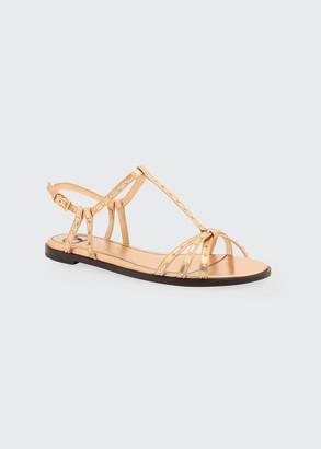 Valentino Rockstud Flat Metallic T-Strap Sandals