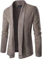 Whatlees Mens Casual Long Designer Solid Wool Blend Slim Fit Open Outwear Cardigan -M