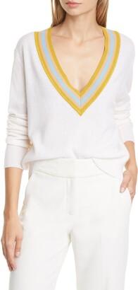 Veronica Beard Jessel Wool Blend V-Neck Sweater