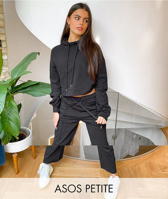 ASOS DESIGN Petite tracksuit hoodie / straight leg jogger with pintucks in black