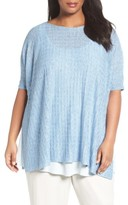 Eileen Fisher Plus Size Women's Lightweight Linen Side Slit Sweater