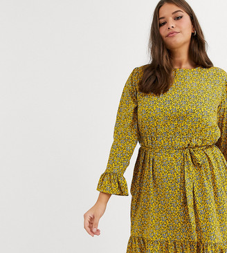 New Look Plus Curve tie waist floral mini dress in yellow