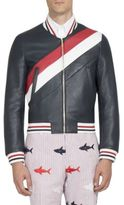 Thom Browne Striped Leather Bomber Jacket