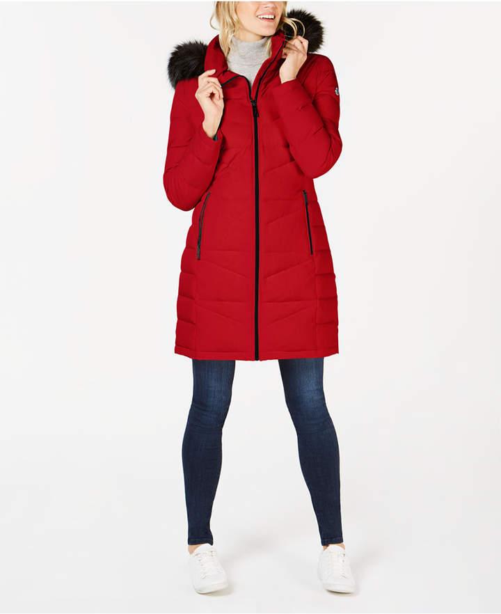 4ffa7b4b6 Faux-Fur-Trim Hooded Puffer Coat