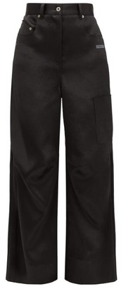 Off-White Patch-pocket Satin Wide-leg Trousers - Womens - Black