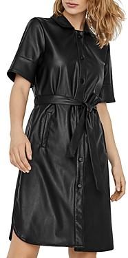 Vero Moda Gwen Faux Leather Mini Shirt Dress