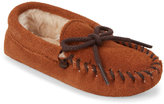 Minnetonka Toddler Girls) Tan Lined Soft Sole Moccasins