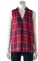 Rock & Republic Women's Plaid Button Back Tank
