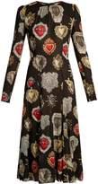 Dolce & Gabbana Heart-print round-neck midi dress