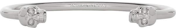 Alexander McQueen Silver Twin Thin Skull Bracelet
