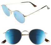 Ray-Ban Women's 50Mm Round Sunglasses - Gold/ Blue