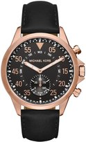 Michael Kors Rose Gold-Tone and Black Leather Hybrid Smartwatch