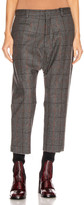 R 13 Tailored Drop Trouser in Grey Plaid | FWRD
