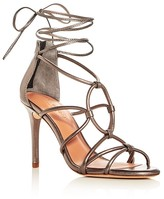 Halston Brielle Metallic Caged Ankle Tie Sandals