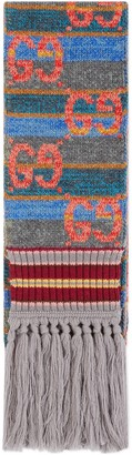 Gucci GG striped wool lame scarf
