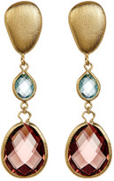 Rivka Friedman 18K Gold Clad Graduated Faceted Denim Blue & Raspberry Crystal Teardrop Earrings