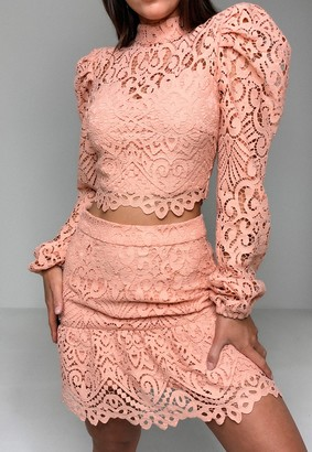 Missguided Blush Co Ord Lace Puff Sleeve Crop Top