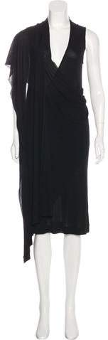 Alexander McQueen Sleeveless Draped Midi Dress