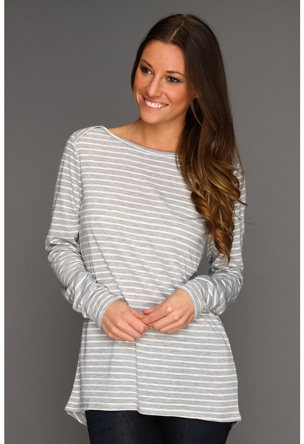 C&C California Regal Stripe L/S Boatneck Tunic (White) - Apparel