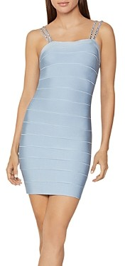 Herve Leger Crystal Embellished Mini Bandage Dress