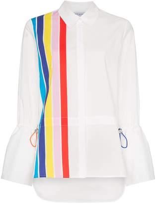 Mira Mikati stripe front shirt with drawstring pulls