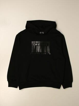 Diesel Hooded Sweatshirt With Rubberized Bar Logo