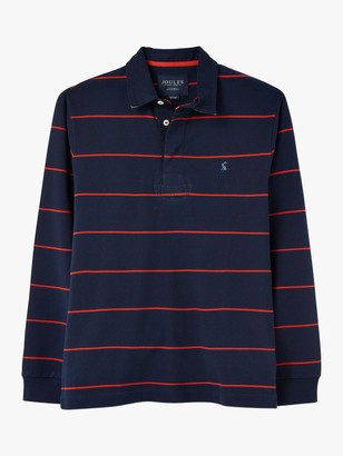 Joules Onside Cotton Stripe Rugby Polo Shirt, Navy/Red Stripe