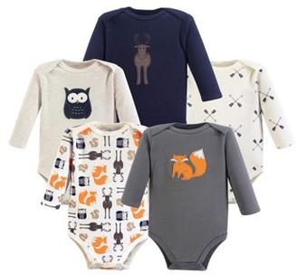 Hudson Baby Boy Long Sleeve Cotton Bodysuits 5-Pack