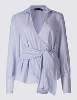 M&S Collection Pure Cotton Striped Wrap Poplin Blouse