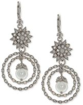 Marchesa Silver-Tone Crystal & Imitation Pearl Orbital Drop Earrings