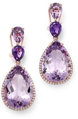 Bloomingdale's Amethyst & Diamond Statement Drop Earrings in 14K Rose Gold - 100% Exclusive